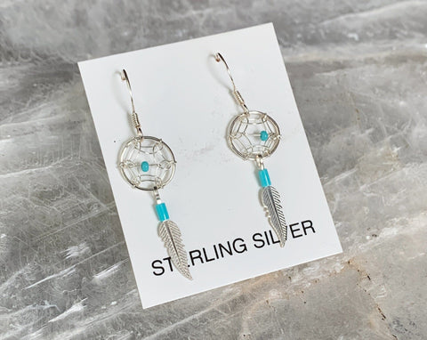 Sterling Dream Catcher Feather Earrings
