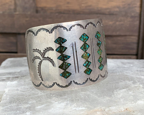Navajo Sterling Chip Inlay Cuff Bracelet