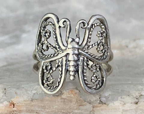 Sterling Butterfly Ring, Size 5