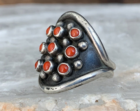 Sterling Zuni Coral Cluster Ring, Size 8