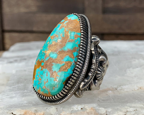 Huge Sterling Navajo Royston Turquoise Ring by Richard C Jim, Size 13