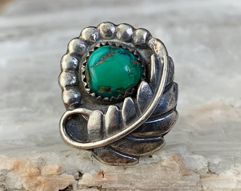 Early Navajo Sterling Turquoise Ring, Size 6