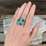 Sterling Turquoise & Turtle Shell Flower Ring, Size 6.25