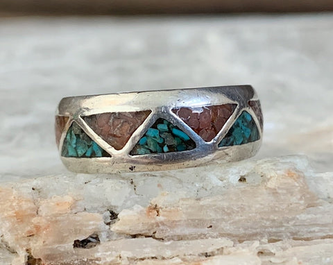 Sterling Chip Inlay Band Ring, Size 7