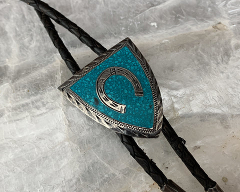 Sterling Chip Inlay Bolo Tie