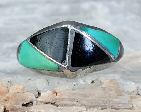 Sterling Zuni Turquoise & Jet Inlay Ring, Size 8.5