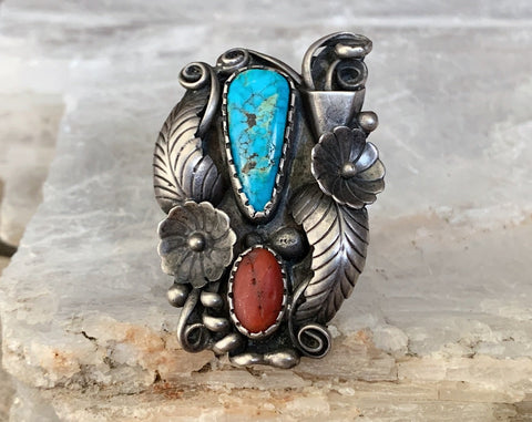 Navajo Sterling Turquoise & Coral Ring, Size 8