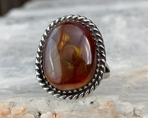 Sterling Navajo Fire Agate Ring, Size 6.25