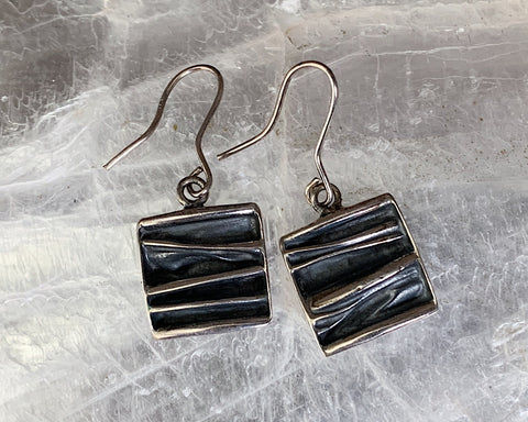 Crumpled Sterling Dangle Earrings