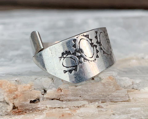 Hand Stamped Sterling Bypass Ring, Size 10