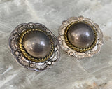 Sterling Domed Concho Clip Earrings