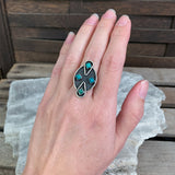 Zuni Sterling Turquoise Ring, Size 5