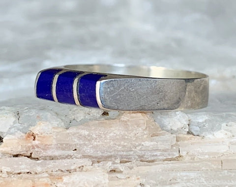 Sterling Lapis Ring, Size 7.25
