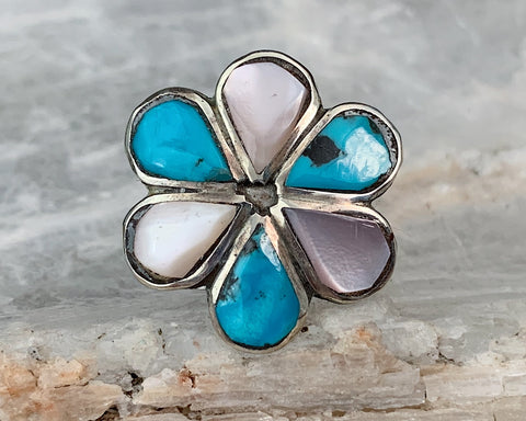 Sterling Turquoise & MOP Flower Ring, Size 6