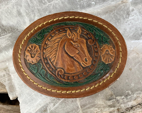 Tooled Leather Belt Buckle