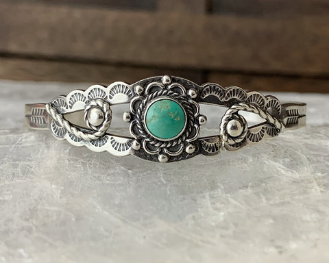 Sterling Turquoise Fred Harvey Era Cuff