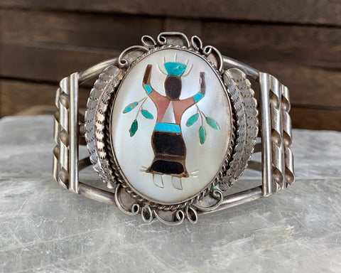 Sterling Crown Dancer Inlay Cuff Bracelet by Rose Pincio