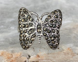 Sterling Marcasite Butterfly Ring, Size 6