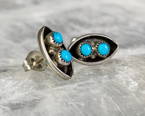 Sterling Turquoise Snake Eyes Stud Earrings