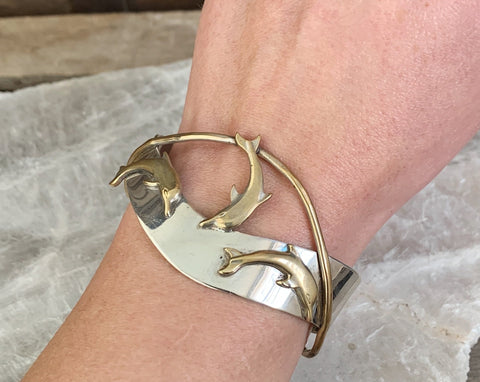 Sterling & Brass Dolphin Cuff by Courtney Peterson
