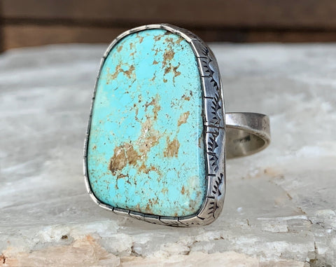 Sterling Dry Creek Turquoise Ring, Size 9.25 adjustable