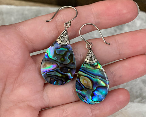 Bali Style Sterling Abalone Teardrop Earrings