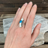 Sterling Curved Inlay Ring, Size 5.25