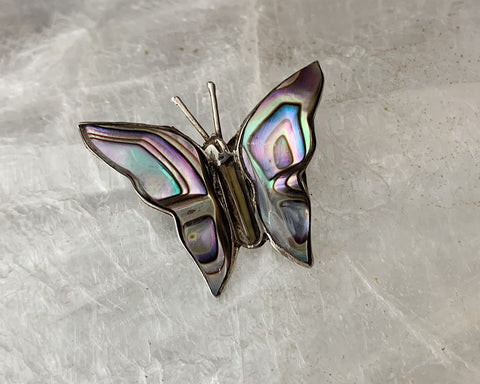 Mexican Sterling Abalone Butterfly Pin