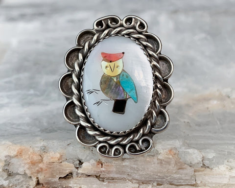 Sterling Owl Inlay Ring, Size 7