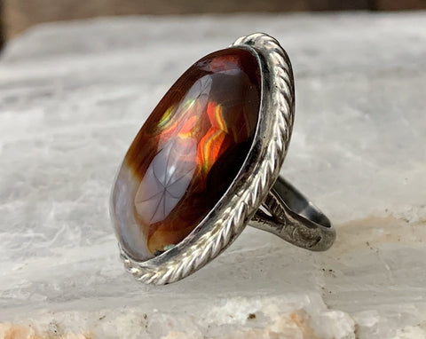 Huge Sterling Navajo Fire Agate Ring by Wrathall Johnson, Size 6.5