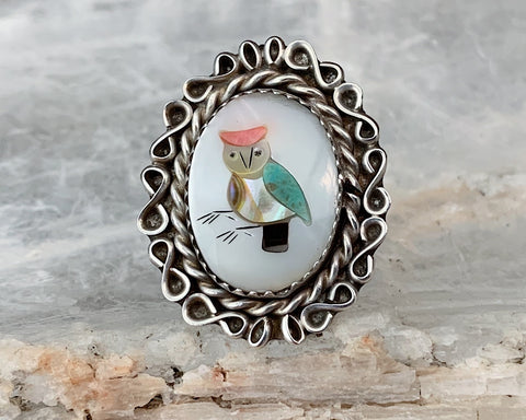 Sterling Owl Inlay Ring, Size 6