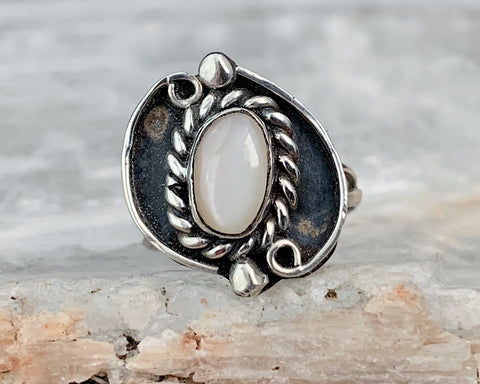 Dainty Sterling Mother of Pearl Ring, Size 2.75