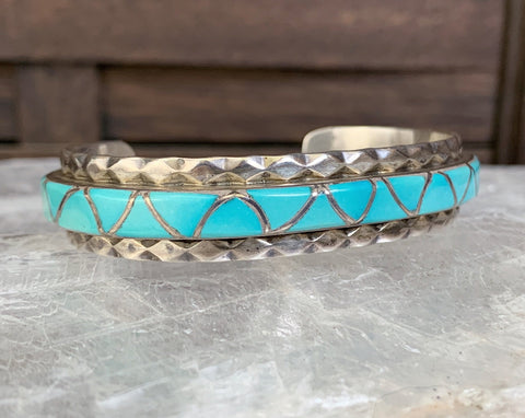 Navajo Turquoise Inlay Bracelet by Emma Bonney