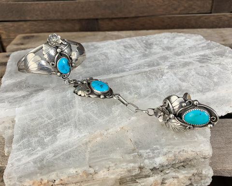 Sterling Navajo Turquoise Slave Bracelet by A Edsitty