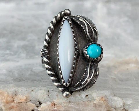 Sterling Navajo Mother of Pearl & Turquoise Ring, Size 5.25