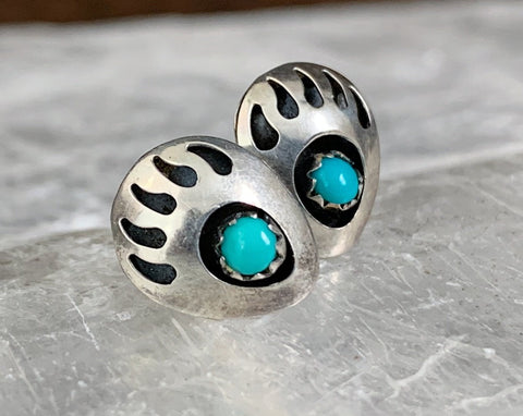 Sterling Turquoise Bear Paw Stud Earrings