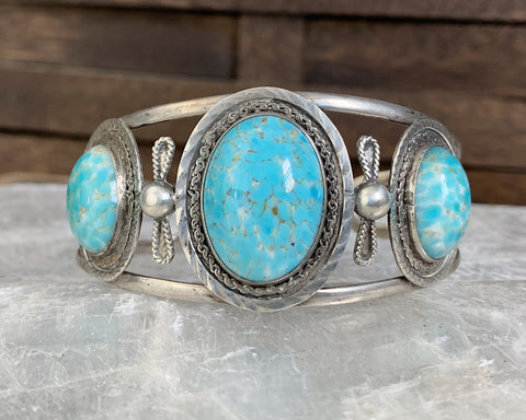 Sterling Mexican Hubbell Glass Cuff Bracelet