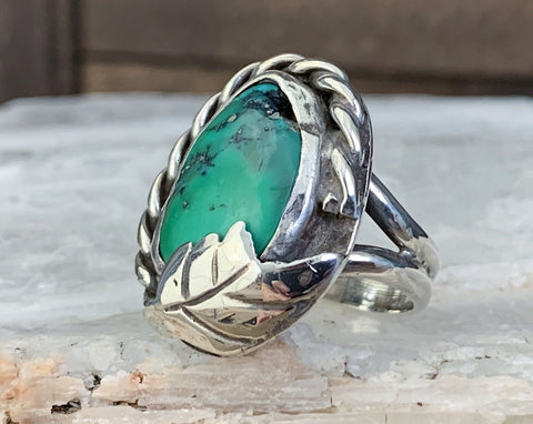 Damaged Sterling Turquoise Navajo Ring, Size 10.25