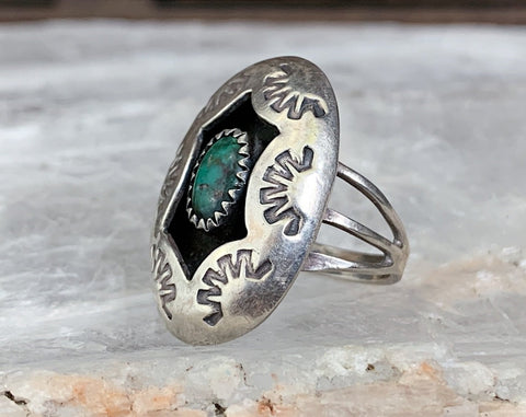 Navajo Turquoise Shadowbox Ring, Size 7