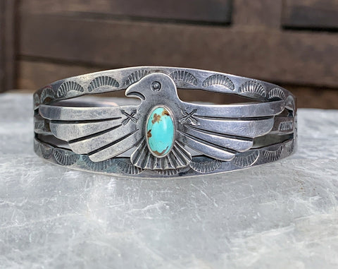 Sterling Fred Harvey Era Turquoise Thunderbird Cuff with Whirling Logs