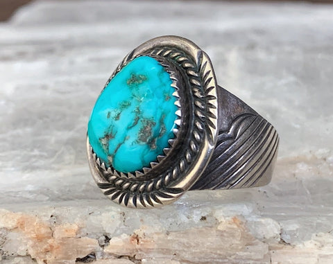 Sterling Turquoise Ring by Will Denetdale, Size 11