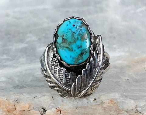 Sterling Turquoise Double Feather Ring, Size 5.75