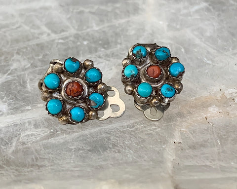 Sterling Coral & Turquoise Clip Earrings