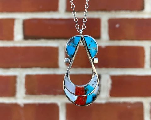 Sterling Inlay Pendant Necklace