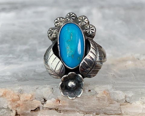 Sterling Navajo Turquoise Ring, Size 7
