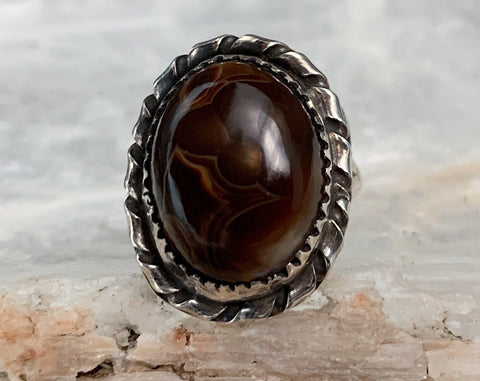 Sterling Navajo Fire Agate Ring, Size 5.5