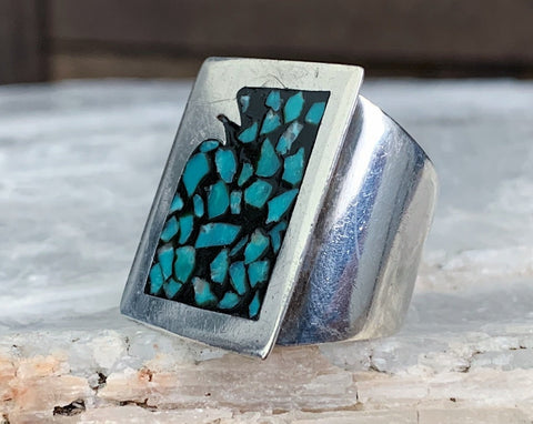 Sterling Turquoise Chip Inlay Ring, Size 8.5