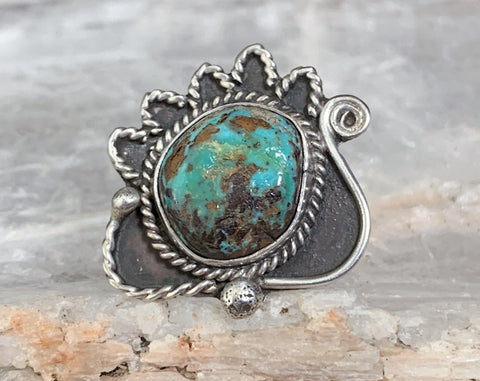 Sterling Turquoise Navajo Ring By Rose Draper, Size 6.5