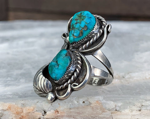 Navajo Sterling Turquoise Ring by Gary Reeves, Size 7.5