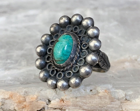 Early Mexican Turquoise Ring, Size 4.5
